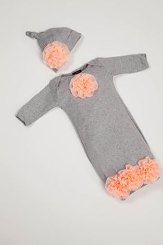 Newborn Infant Layette Baby Gown with Peach by jacqueline225, $30.00