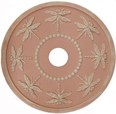 Dragonfly Ceiling Medallion cast from Marie Ricci's hand carved original. Shown in a distressed pink and solid white finishes. Available in solid or distressed finish and hand painted in any of our ma
