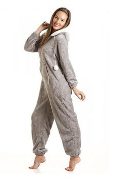SuperSoft Fleece Hooded Camille Grey #Onesie You'll be saying NO to nights out when you see these snuggle-worthy sleepwear and #luxe #onesies