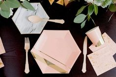 """Inset with gold stripes on elegant hexagon, make your guests blush while you shine. Blush, Gold Foil Paper Approx. 10.5"""" Corner to Corner 8 / Pack"""