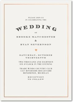 Keep it simple and classic with this timeless wedding invitation.