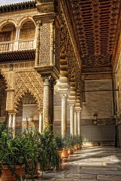 """""""The Courtyard of the Maidens"""", refers to the legend that the Moors demanded 100 virgins every year as tribute from Christian kingdoms in Iberia. Reales Alcázares de Sevilla (Royal Alcazars of Seville), the oldest royal palace still in use in Europe. Islamic Architecture, Beautiful Architecture, Beautiful Buildings, Art And Architecture, Beautiful Places, Places To Travel, Places To Visit, Madrid, Magic Places"""