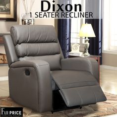 Dixon is one of the finest recliners we have available to offer. Crafted in tough leather air which makes it more durable and less maintenance required. The1 Seater to provide you with the ultimate convenience and cinema experience. Get your hands on these to enjoy the comfort at the fullest.
