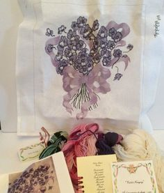 Violet Nosegay Hand Painted Needlepoint Canvas Kit Yarn Purple Flower Thimbelina #Thimbelina