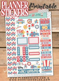 4th of July Stickers Planner Printable - so much fun for red white and blue planning!