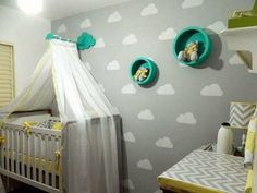 quarto de bebe tema nuvem