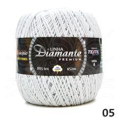 Barbante Diamante Premium nº06 400g na cor Branca N°05.