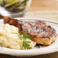 BBQ Rubbed Pork Chops - a Cooking Light recipe. Easy to make. Just mix the spices and rub on the pork chops (I use boneless). Then cook on the stove top.