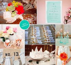Small touches to create a beach theme for an outdoor or even an indoor wedding.