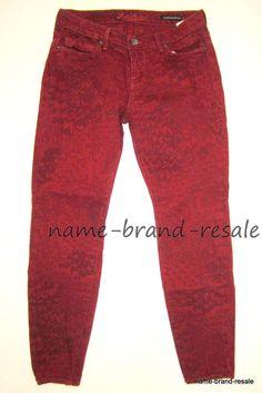 LUCKY BRAND Legend Sofia Skinny Jeans 29 x 32 Red Print Denim MADE IN USA #LuckyBrand #LegendSofiaSkinny