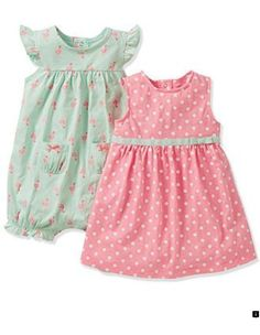 These are just the cutest for a little girl! Carter's Baby Girls' Romper, Dress & Panty Set - Kids Newborn Shop - Macy's Flamingo ideas and inspiration 2 Piece Romper, Romper Dress, Dot Dress, Dress Set, Tank Dress, Outfits Niños, Kids Outfits, Little Girl Fashion, Kids Fashion