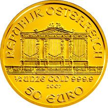 Mince o hmotnosti 1/2 Oz nese nominální hodnotu 50 Euro.