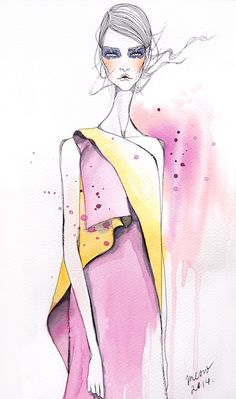 Me and a Cup of Hot Chocolate: Fashion Illustration Resort 2015 - Diana Lomakina - fashion Fashion Illustration Sketches, Illustration Mode, Fashion Sketchbook, Fashion Design Sketches, Fashion Figures, Designs To Draw, Illustrators, Fashion Art, Art Drawings