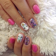 Unicorn nails belleza con angel - bridal nails - MY World Unicorn Nails Designs, Unicorn Nail Art, Cute Nail Art, Cute Nails, Pretty Nails, Nails For Kids, Girls Nails, Hair And Nails, My Nails