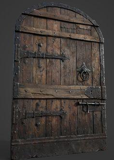 ArtStation – Medieval castle door, Nikolay Bilinskiy Las Vegas trade show models josepcamps Medieval Door, Chateau Medieval, Medieval Castle, Castle Doors, Castle Gate, Castle Window, Vintage Doors, Antique Doors, Rustic Doors