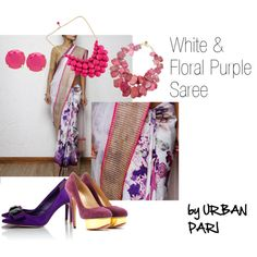 """""""White & Floral Purple"""" saree by Urban Pari. A floral saree so unique, another one like this can't be found."""