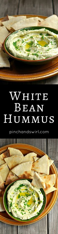 White bean hummus is thick and ultra-creamy with delicate garlic heat, earthy parsley, silky tahini and zesty lemon! You can make it in 10 minutes flat and it's the perfect dip for raw vegetables or fresh pita and makes a delicious spread for wraps and sandwiches.