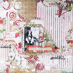 Santa is here layout with Vintage Christmas by Vera Shelemekh