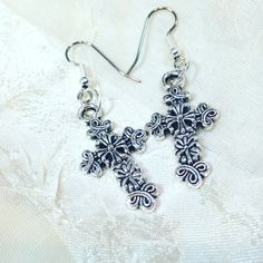 Ornate Celtic Cross Earrings in Sterling by NorthCoastCottage