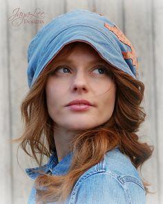 Denim Blue Slouchy Beanie Hat with Orange Oak by GreenTrunkDesigns