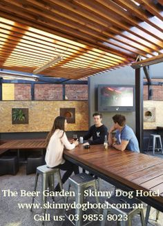The Beer Garden at skinny dog hotel is fully-equipped indoor bar and all the creature comforts inside and out.For more information visit us at http://www.skinnydoghotel.com.au/skinny-functions/
