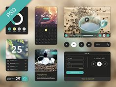 Freebie UI elements from a three part UI Kit designed by Hila Yonatan. Ui Kit, App Design, Free Design, Ui Design Inspiration, Ui Elements, Le Web, Starter Kit, Psd Templates, Mobile Ui