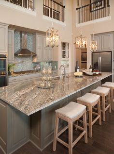 Live Love in the Home: Today's Popular Interior Design Photos - Kitchen Collection kitchen island idea ; Kitchen Inspirations, House, Cool Kitchens, White Granite Colors, Kitchen Remodel, Transitional Kitchen Design, Sweet Home, Popular Interior Design, Home Kitchens