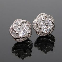 Shiny Floral Zirconia Earrings