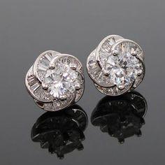 Shiny Floral Zirconia Earrings