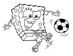 Spongebob Squarepants Kick Ball Coloring Page