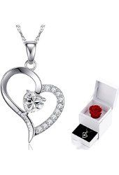 """MARENJA Crystal-Women's Necklace with Heart Pendant Engraved """"I Love You"""" White Gold plated Crystal Preserved Rose Gift Box Packaged $26.99 Prime Marenja"""