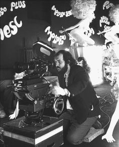 Stanley Kubrick on the set of 'A Clockwork Orange'