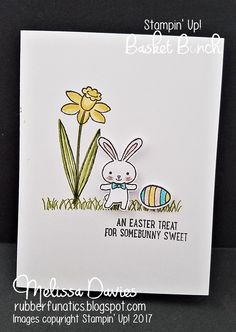Good Morning, Stampers!   We're getting ready for the Easter holiday during my Weekly 3/$5 Card Classes this week! The Basket Bunch stamp se...