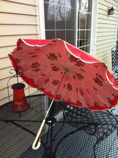 Vintage Umbrella  Red Fabric with colorful floral by azandershop, $20.00