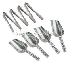 """4 Lots 5""""Ice Tongs & 4 5oz Sweet Scoops Wedding Candy Buffet Bar Stainless Set"""
