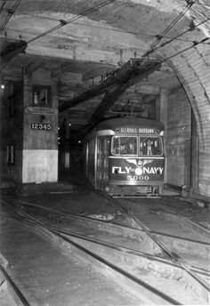 PCC Red Car in Subway Terminal tunnel 1941