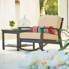 Improvements Eucalyptus Outdoor Deep Seat Rocker - Espresso ($135) ❤ liked on Polyvore featuring home, outdoors, patio furniture, outdoor chairs, espresso, outdoor deep seat cushion sets, outside rocking chairs, deep seat outdoor furniture and deep seat cushion set