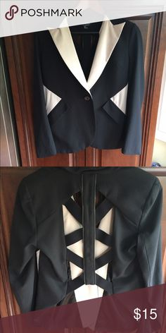 Hommage from Los Angeles Cutout Blazer Nude detailing; single bottom; cutout back with faux-zipper detailing Jackets & Coats Blazers