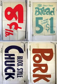 Grocery Store Signs circa 1965