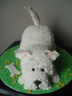 West highland White terrier dog cake  (westie dog)  Cake covered in fondant.