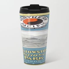 Yellowstone Northern Pacific Rail Time Table Metal Travel Mug