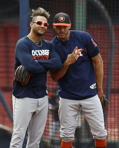 Houston Astros Yuli Gurriel and Carlos Correa at first base during a drill as the Astros workout at Fenway Park, Saturday, Oct. in Boston , ahead of Sunday's ALDS Game ( Karen Warren / Houston Chronicle ) Chicago White Sox, Boston Red Sox, Baseball Playoffs, Baseball Games, Batting Order, Astros World Series, Arizona Cardinals Football, Texas Swimming Holes, Yankees Fan