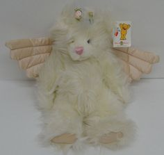 """Mary Meyer Crystal Teddy Bear Angel Plush Cream Satin Wings Paws 14"""" NEW  #MaryMeyer http://stores.ebay.com/Lost-Loves-Toy-Chest?_dmd=2&_nkw=mary+meyer"""