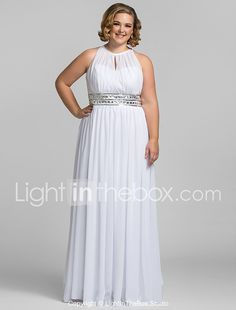 TS Couture® Prom / Formal Evening / Military Ball Dress - Elegant Plus Size / Petite Sheath / Column High Neck Floor-length Chiffon with Crystal 2017 - $109.99