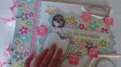 Libro de firmas comunión niña scrapbooking Scrap Books, Art Journaling, Mini Albums, Lunch Box, Licence Plates, Signature Book, Bebe, Art Diary, Bento Box