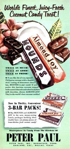 1951 Peter Paul candy bar ad, Almond Joy, Mounds