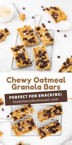 Chewy Oatmeal Granola Bars are made in just about 10 minutes! Filled with peanut butter, oats, honey, and any kind of chocolate chip!   The Bitter Side of Sweet Sweet Recipes, Yummy Recipes, Snack Recipes, Dessert Recipes, Healthy Recipes, Quick And Easy Breakfast, Breakfast Ideas, Breakfast Recipes, Easy Desserts