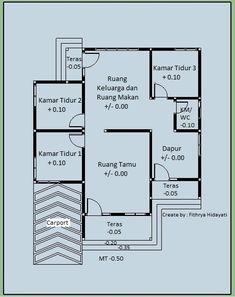 Denah Rumah Dan Tampak - Kreasi Rumah Home Design Plans, Floor Plans, House Design, How To Plan, Modern, Trendy Tree, House Design Plans, Architecture Illustrations, Home Plans