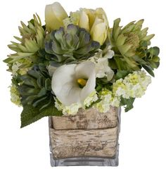 Faux White Flowers and Succulents in Decorative Vase