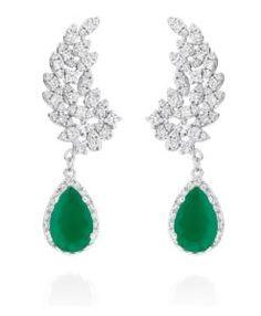 brinco prata com zirconias esmeraldas e cristais com banho de rodio semi joias da moda